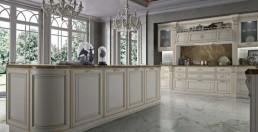 Cucina in Legno, bianca, in Stile Classico